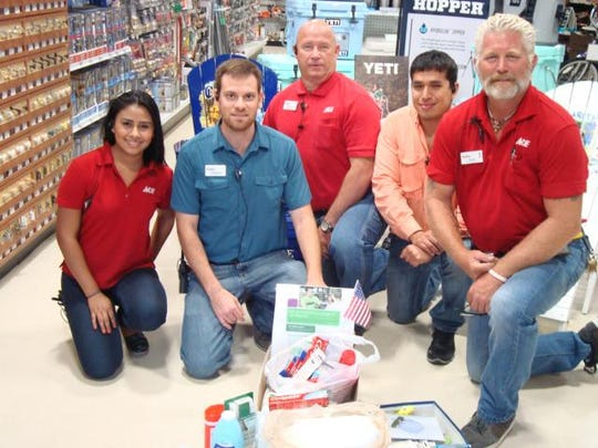 Staff members of Ace Hardware on San Marco Road pose with some of the toiletry donations dropped off at the store. More destinations have been added, and the deadline has been extended to June 25.