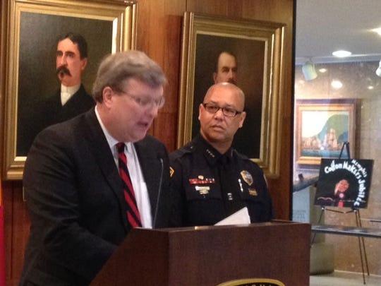 Mayor Jim Strickland introduces Memphis Police Director Michael Rallings.