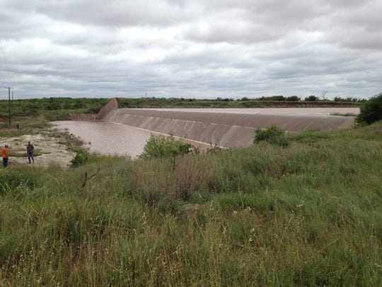 For the first time in years, water flows over the spillway at Lake Kickapoo in 2015. The lake, one of Wichita Falls' two primary reservoirs, reached 100 percent capacity that May.