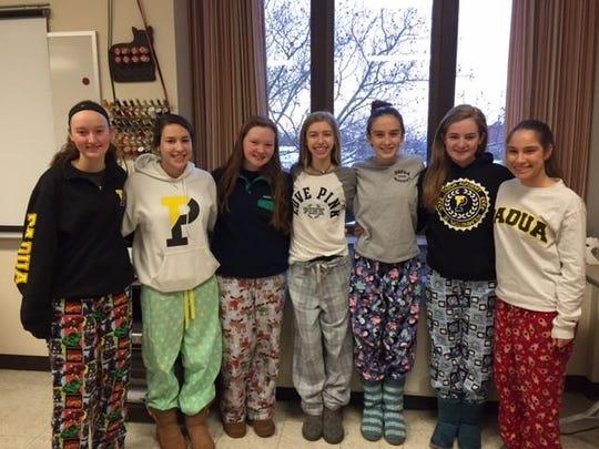 Freshmen Sarah Jennings, Josephine Pileggi, Gina Hobbs, Margo Nauman, Caroline Scalora, Shannon Nagle and Marina Pilgerwear signature pajama pants designed and sewn by each student.