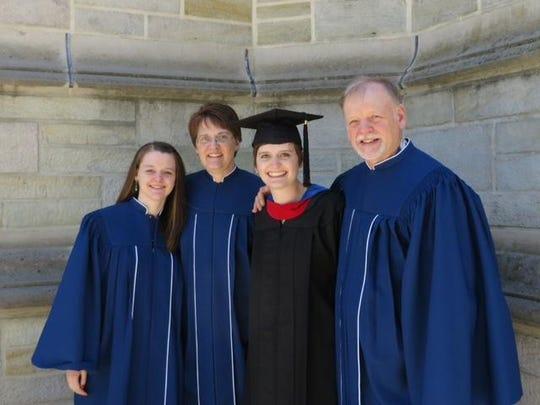 From left, Victoria, Tammy, Sylvia and Bruce Bull celebrate Sylvia's seminary graduation.