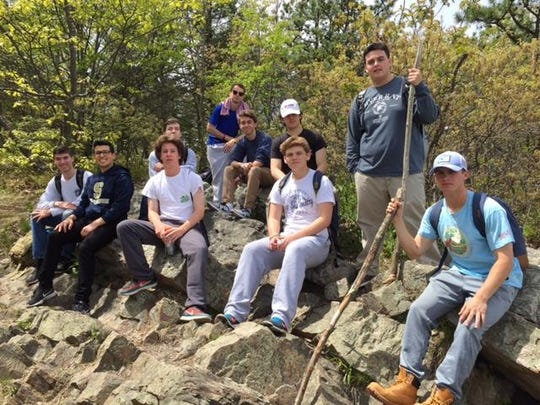 Students in the Salesianum Geology of National Parks class climbed Mt. Minsi and hiked along the Appalachian Trail.
