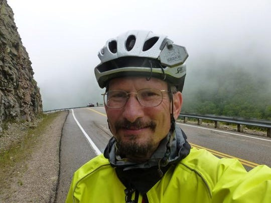Bryan Lorber, Class of 1995, seen on a bike trip. This year, he created a scholarship to encourage and support future students pursuing nursing studies at UVM who show financial need.