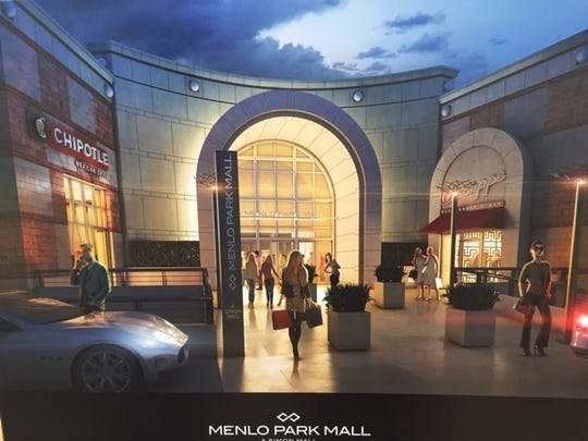 Rendering on display of exterior renovations planned at Menlo Park Mall, a Simon mall in Edison