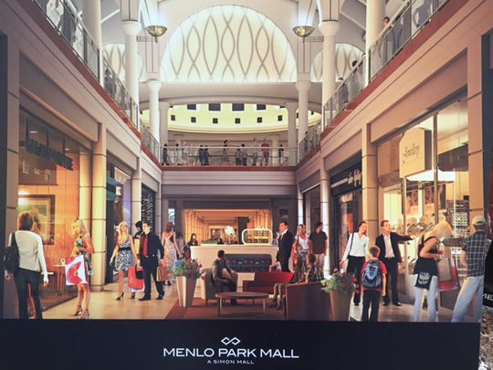 Rendering on display of interior renovations planned at Menlo Park Mall, a Simon mall, in Edison