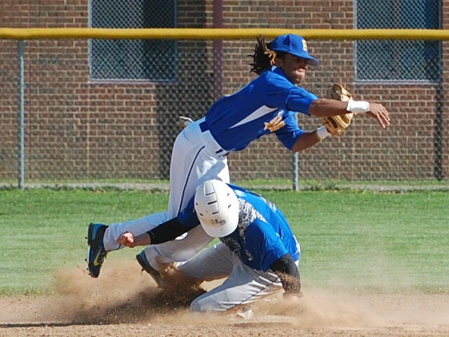 Buena second baseman Jordan Ellis fires to first after getting the force out on a sliding Tyler O'Dell of Northern Burlington in the second inning Monday.