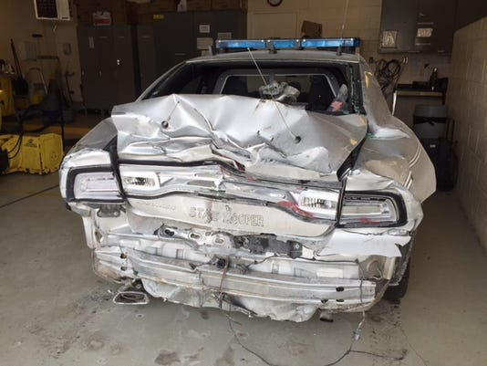 Cruiser at Mansfield patrol post totaled