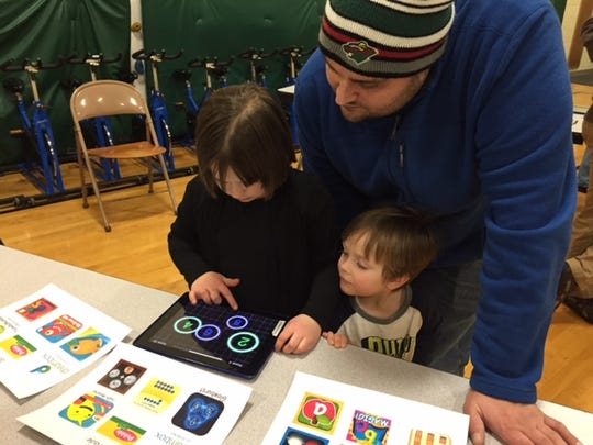 Jefferson students and their families participated in technology stations and other fun-filled activities Jan. 27 at Jefferson Elementary School's Technology Family Night. One activity included making movies with iPads.