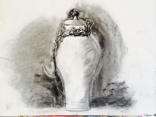 A charcoal drawing by eighth-grader Sofia Quon.