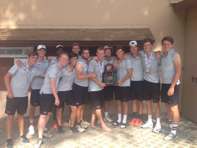 The Leon boys tennis team celebrates its FHSAA Class 3A state runner-up. ?Courtesy of John Stout.
