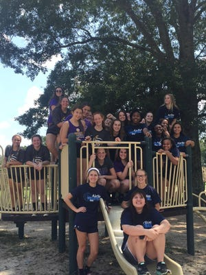 The Airline and Denham Springs volleyball teams got together recently for an event.