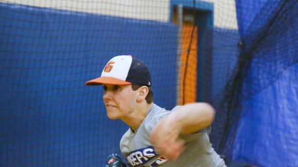 Horace Greeley left hand pitcher Brandon Neeck throws