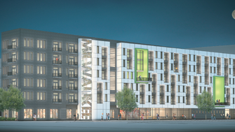 The new Milwaukee Bucks arena's parking structure will include 90 apartments on its upper floors in addition to street-level commercial space.