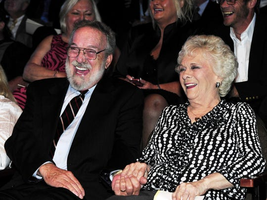 Jean Shepard laughs with her husband, Benny Birchfield, during the Hall of Fame medallion ceremony, where Shepard, Reba McEntire and Bobby Braddock were formally inducted into the Country Music Hall of Fame on May 22, 2011.