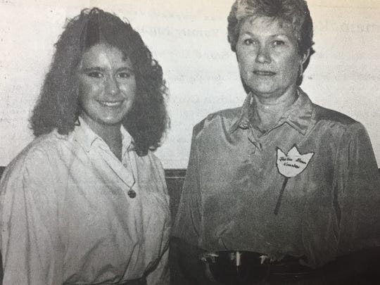 Tammie Stenger, left, received the Homemakers Scholarship and Pearline Mason was named Union County Homemaker during the annual meeting of the county homemakers in May 1989.