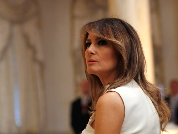 First lady Melania Trump at news conference with President