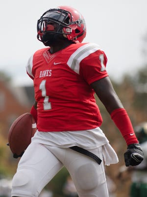 Huntingdon defensive back Anthony White returns an interception for a touchdown during the game between Huntingdon and Methodist on Saturday, Oct. 24, 2015 at Huntingdon College in Montgomery, Ala.
