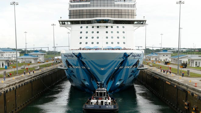The 168,028-ton Norwegian Bliss enters a lock at the Panama Canal on May 14, 2018. It is the largest cruise ship ever to transit the Panama Canal.
