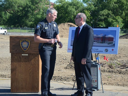 Police Chief Jim Blocker and Mayor Dave Walters talk