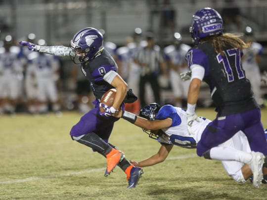 Shadow Hills runner Kaleb Welmas picks up a first down against Cathedral City, September 21, 2017.