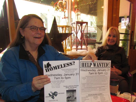 Karolle Hughes, left, and Lori McLaughlin stopped in for a Creekside Chat at Live Local Cafe Wednesday, Jan. 17, to impart the game plan for the upcoming Silverton Homeless Connect, Wednesday, Jan. 31, at Trinity Lutheran Church.