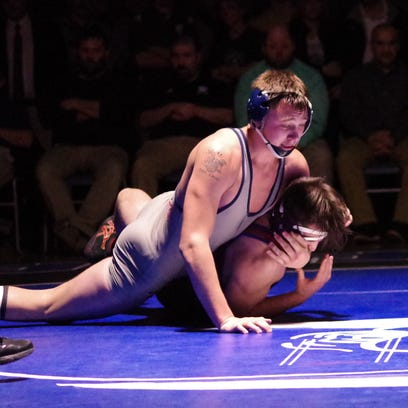 Sam Wilkins, the winner at 195 pounds, and Mount Anthony