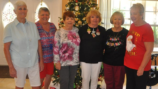 EL-DOE elves, from left, are Debbie Lawrence, parliamentarian; Diane Freese, Membership Committee chair; Frances Quinn, treasurer; Mary Rodgers; Patricia Bidoul, Ecumenical Food Pantry liaison; and Jean DeBlasio, secretary.