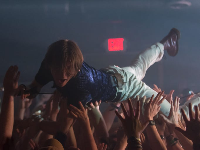 Matt Schultz lead singer of Cage The Elephant performs at Mercy Lounge on Tuesday, June 24, in Nashville, Tenn.