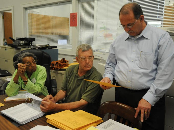 Election commission member Daisy Harris Wade, from left, City Election Commission Chairman George Decoux, center, and City Clerk Eddie Myers count affidavit votes during a verifying process at City Hall.