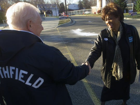 Brenda Lawrence greets her  opposition, then-Southfield