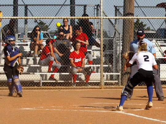Lake View's Cat Guerra, left, attempts a throw out at home while Keeley Painter (2) covers the plate in District 4-5A softball action against Lubbock Coronado Tuesday, March 21, at Maidens Field in San Angelo.