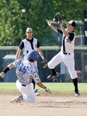Tony Burlingame of Horseheads steals second base as