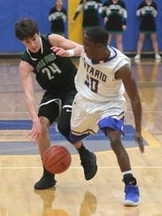 Clear Fork's Brennan South dribbles the ball on front