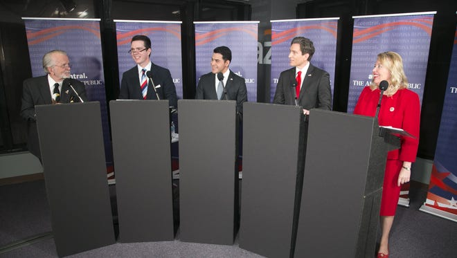 Republicans (from left) Clair Van Steenwyk, Bob Stump, Steve Montenegro, Phil Lovas and Debbie Lesko, during a Republican debate to fill the vacant seat of U.S. Rep. Trent Franks at The Arizona Republic newsroom in Phoenix on Jan. 24, 2018.