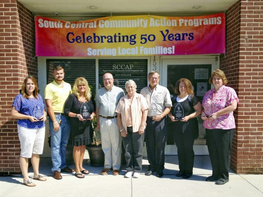 Pictured, from left, are: Angie Markle, of Ken Adams Mechanical Inc.; John Irwin II and Sonia Irwin, of JSI Heating & Air Conditioning, LLC; Sam Hepfer and Cindy Waytashek, of SCCAP; Harold Bowman, of REMCO, Inc.; Dawn Wright, of John M. Wilhide Plumbing, Heating & Air Conditioning; and Tammy Gutshall, of Tuckey Mechanical Services Inc.