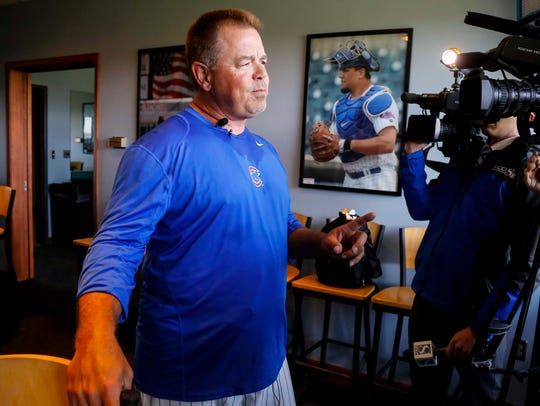 Iowa Cubs' manager Marty Pevey talks during media day