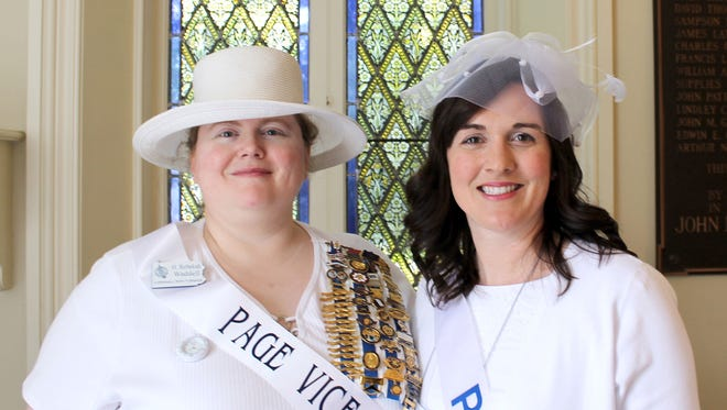 Cornwall Iron Furnace DAR Chapter Regent H. Rebekah Waddell, left, and member Angela Sweigart at the DAR State Conference memorial service in April. Waddell acted as page vice chairman and Sweigart was a flag bearer and page. Pages assist with running the conference and assisting the members.