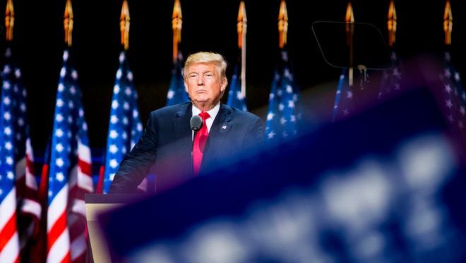Donald Trump, Republican presidential nominee, speaks on the final night of the Republican National Convention at Quicken Loans Arena in Cleveland, Ohio Thursday, July 21, 2016.