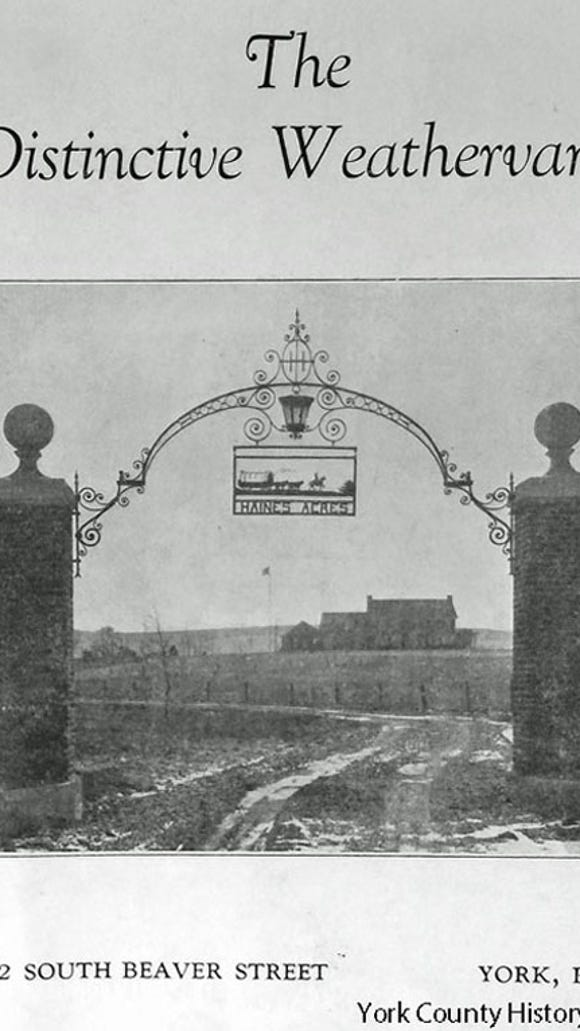 Arched ironwork on the cover of a brochure