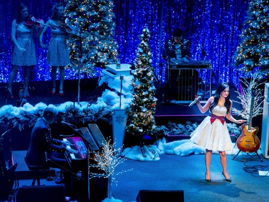 "Kacey Musgraves performs during her ""A Very Kacey Christmas"" concert at the Ryman Auditorium, Monday, Nov. 28, 2016, in Nashville, Tenn."