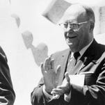 Republican Sen. Karl Mundt of South Dakota helped bring his old friend, President Nixon, to Madison in June 1969 for the dedication of the Mundt Library. Mundt and Nixon were Senate colleagues in the 1950s, and each was passionately involved in anti-Communist activities.
