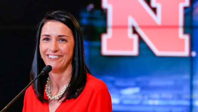 Amy Williams, Nebraska's new women's basketball coach, speaks during an NCAA college basketball news conference where she was introduced, Tuesday, April 12, 2016, in Lincoln, Neb.