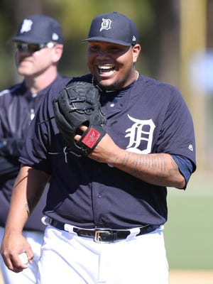 Detroit Tigers pitcher Bruce Rondon at Tigers Spring Training on Thursday, Feb. 16, 2017, at Publix Field at Joker Marchant Stadium in Lakeland, Fla.