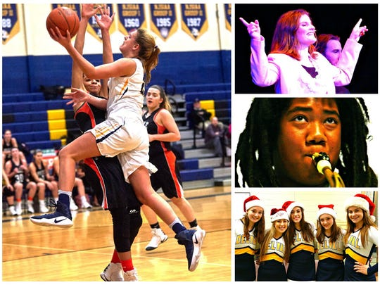 "It takes a lot of happenings to make a high school ""the most happening"" in Hunterdon County. (Clockwise from left) Del Val's Veronica Christ scores two more points on her way to becoming the school's second-highest scorer ever; Claire Wolfson performs in the winter musical ""9 to 5""; Miles Hudgins plays the sax at a coffeehouse session; and Terrier cheerleaders prepare to host their annual Snack With Santa benefit."