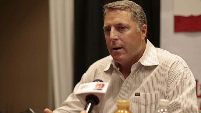 Reds manager Bryan Price fields questions during media availability at the Westin Cincinnati hotel in downtown Cincinnati on Monday.
