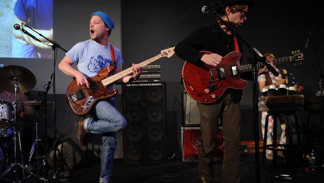 NEW YORK - APRIL 06:  Musicians Toby Leaman (left) and Scott McMicken of Dr. Dog perform in 2010 in New York City.