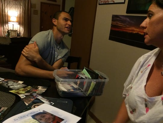 Kris Dasch and son Kameron Edmonds, 19, reminisce about
