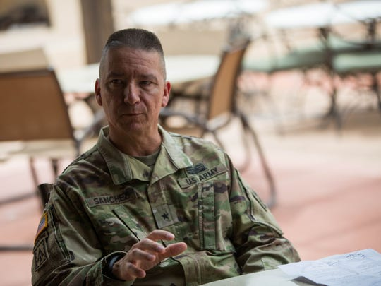 Brig. Gen. Eric L. Sanchez speaks about his retirement and change of command at White Sands Missile Range, Wednesday August 8, 2018.