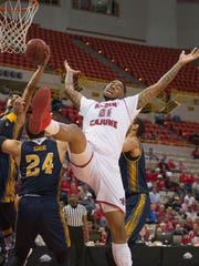 UL forward Shawn Long (21)  reacts to being fouled during Wednesday's 67-66 home loss to UC Irvine at the Cajundome.