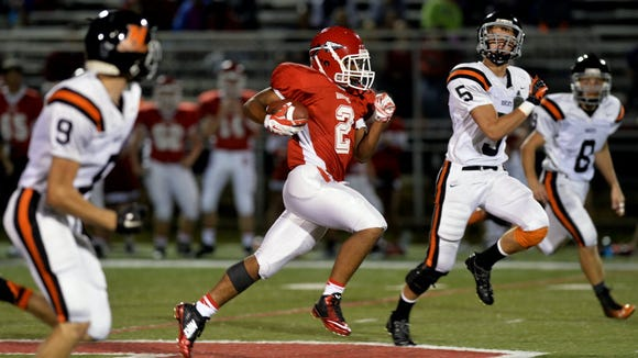 Northeastern's Marcus Josey (No. 6) looking to make a tackle against Susquehannock in September.